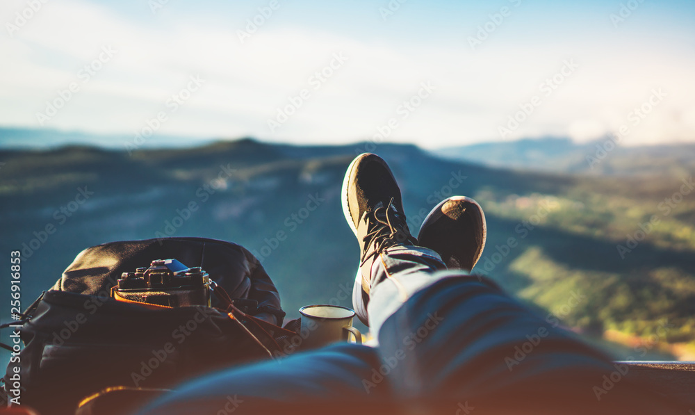 Fototapeta view trekking feet tourist backpack photo camera in auto on background panoramic landscape mountain, vacation concept, foot photograph hiking relax in auto, photographer enjoy trip holiday, mockup