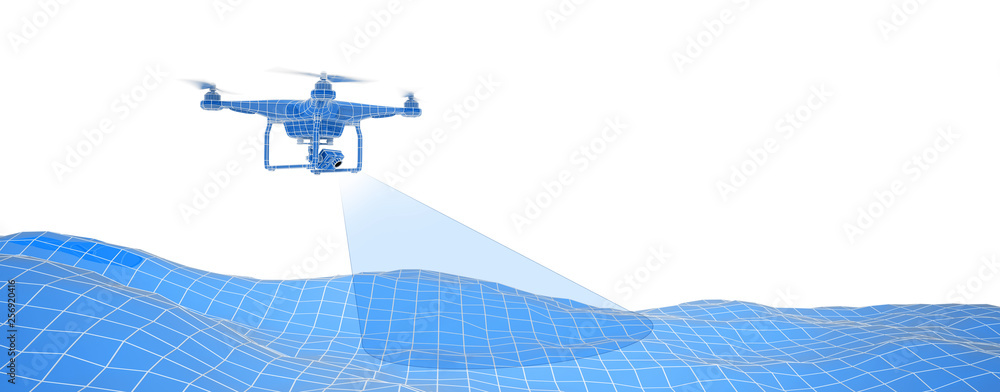 Fototapeta Blue drone over terrain mesh. Geo-scanning. Wire-frame style. Isolated in white background. 3D illustration.