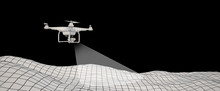 White Drone Over Terrain Mesh....