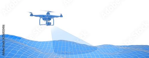 Fototapeta Blue drone over terrain mesh. Geo-scanning. Wire-frame style. Isolated in white background. 3D illustration. obraz
