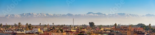 Panorama of Marrakech city skyline with Atlas mountains in the background Canvas Print