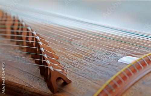 Guzheng strings, close-up shots - 256931042