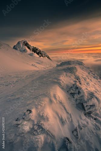 Fototapeta Cloudy morning in the Tatra mountains sunrise. obraz