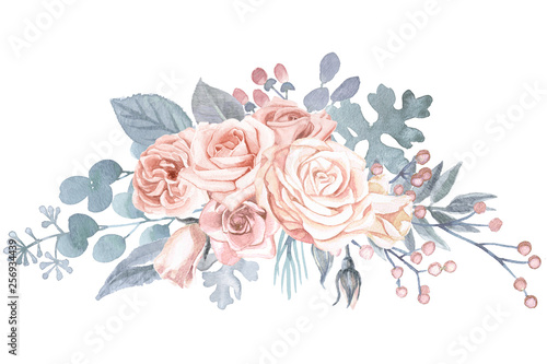 Valokuva  Watercolor Floral Bouquet Blush Pink Roses