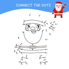 Educational Game For Kids. Dot To Dot Game For Children. Cute Cartoon Santa.