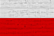 Poland Flag Painted On Old Woo...