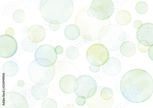 Photo  水彩 水玉 泡 背景 テクスチャ にじみ 緑