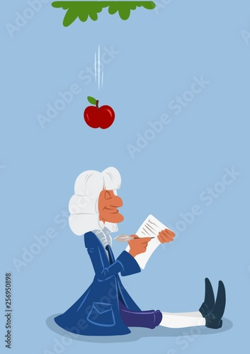 Scientist Newton apple gravity cartoon illustration isolated image minimalism ch Canvas Print