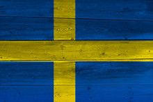Sweden Flag Painted On Old Woo...