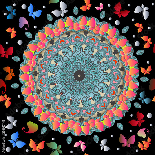 Foto  Butterflies and flowers colorful vector seamless pattern