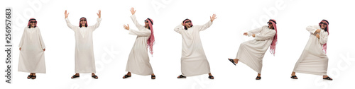 Happy arab man isolated on white Fototapeta
