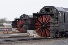 Train Snow Blower In A Railyard