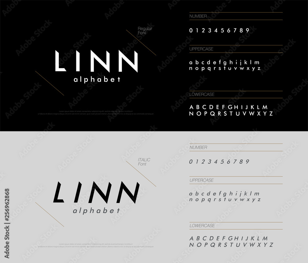 Fototapety, obrazy: alphabet font triangle concept. modern minimal fonts uppercase, lowercase, regular, italic and number corporate identity