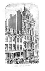 Boston city. Engraving illustration