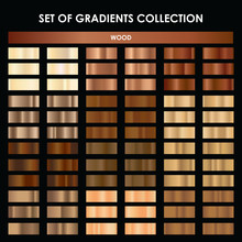 Set Of Wood Gradient. Mega Collection Of Brown Gradient Illustrations For Backgrounds, Cover, Frame, Ribbon, Banner, Coin, Label, Flyer, Ring.