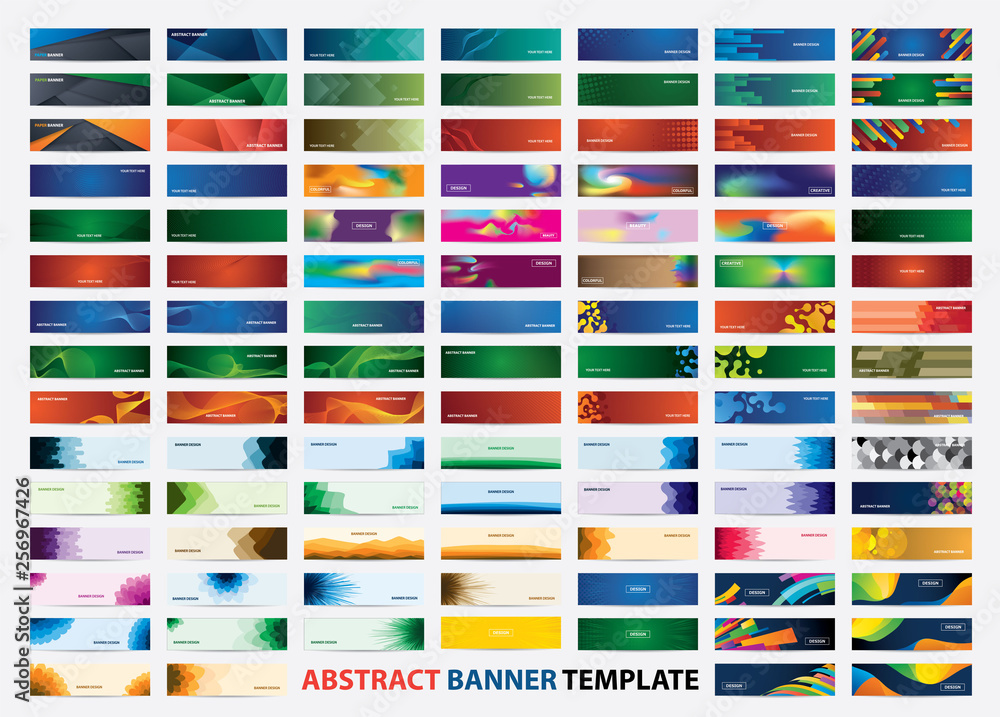 Fototapeta Mega collection of 105 colorful banner template. Abstract web banner design.  Header, landing page web design elements.