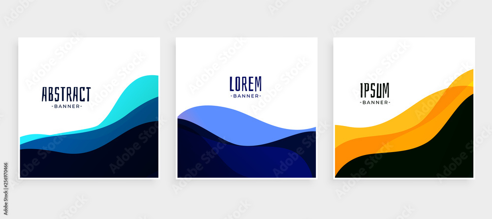 Fototapety, obrazy: set of wave banners in different colors