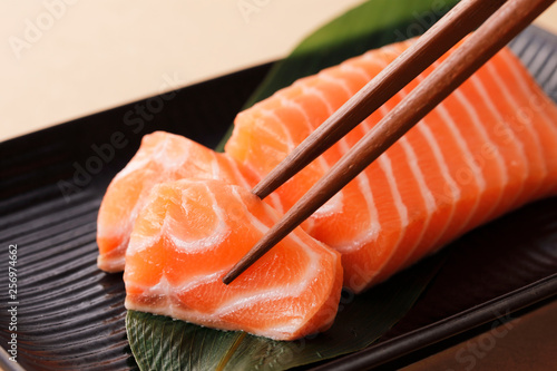 Fototapeta サーモンの刺身 Raw salmon sashimi obraz