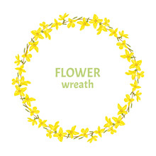 Forsythia Wreath Isolated On White Background. Round Frame Of Spring Yellow Flowers. Vector Illustration Of  Flower Garland In Cartoon Simple Flat Style.
