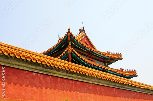 Chinese ancient architectural landscape, Yellow glazed tile roof Canvas Print