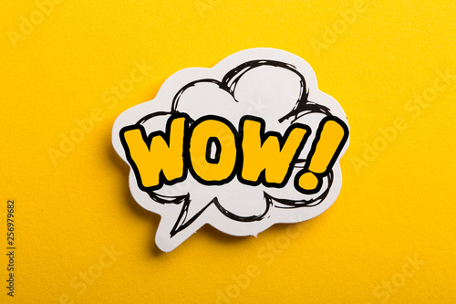 WOW Speech Bubble Isolated On Yellow Background