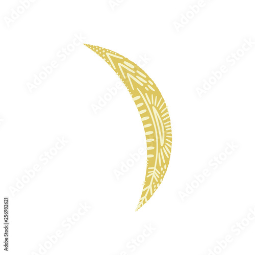 Foto auf AluDibond Boho-Stil Vector patterned Moon art, clip art, isolated symbol