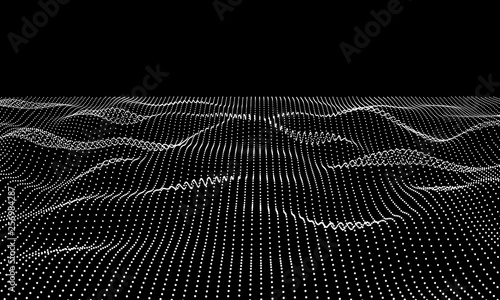 Abstract 3d grid technology background. Futuristic technology network  wireframe. - 256984287