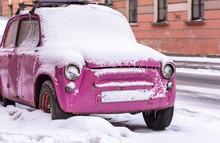 Old Vintage Pink Car Covered B...