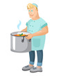 vector illustration with muscular young cook with a large pot of soup
