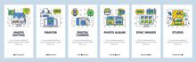 Mobile App Onboarding Screens. Photography Studio, Photo Editing, Digital Camera, Printer And Album. Menu Vector Banner Template For Website And Mobile Development. Web Site Design Flat Illustration