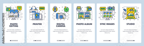 Fototapeta Mobile app onboarding screens. Photography studio, photo editing, digital camera, printer and album. Menu vector banner template for website and mobile development. Web site design flat illustration obraz