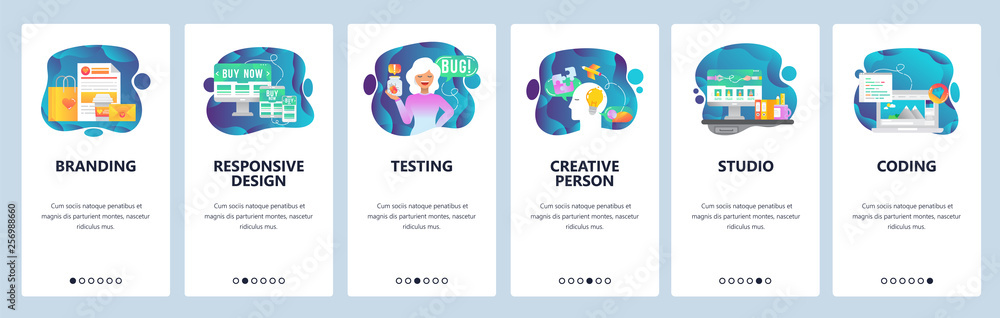 Fototapety, obrazy: Mobile app onboarding screens. Digital marketing, branding and design studio, creativity. Menu vector banner template for website and mobile development. Web site design flat illustration