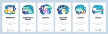 Mobile App Onboarding Screens. Digital Marketing, Branding And Design Studio, Creativity. Menu Vector Banner Template For Website And Mobile Development. Web Site Design Flat Illustration