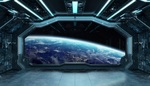Dark Blue Spaceship Futuristic Interior With Window View On Planet Earth 3d Rendering