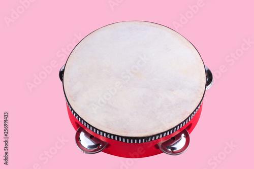 tambourine isolated on pink Fototapeta