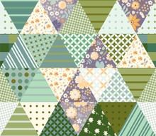 Patchwork Seamless Pattern With Triangle Patches. Composition With Floral And Geometric Ornament.