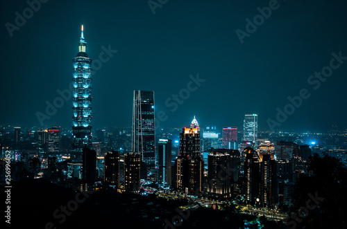 Recess Fitting Shanghai Beautiful Taipei skyline at night. Taiwan, Asia
