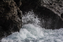 Storms Create Violent Sea Spray Whitewater In Porthleven - Cornwall UK