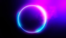 Neon Circle, Abstract Light.