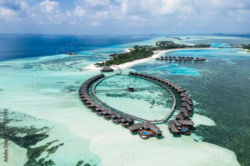 Fotografía  Aerial drone photo - The beautiful Maldives islands