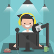 Young character sitting at computer desk.Streaming.Cloud gaming service.Flat cartoon design.Clip art