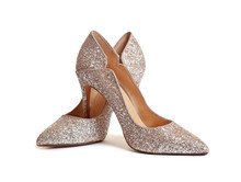 Stylish High Heel Shoes On Whi...