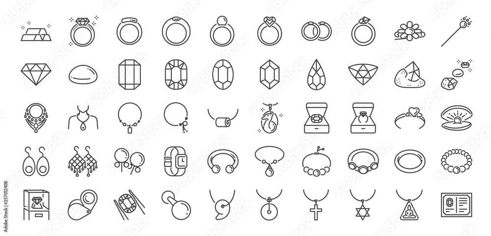 Fototapeta 50 Jewelry line icon set. Included icons as gems, gemstones, jewel, accessories, ring and more.