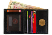 Open Black Leather Wallet Filled With Paper And Metal Hryvnia Isolated On White Background