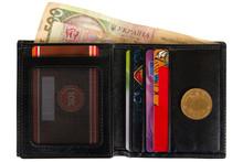 Open Black Leather Wallet Fill...