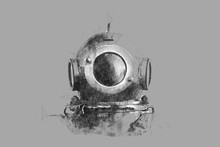 Pencil Illustration. A Helmet From An Old Diving Suit.