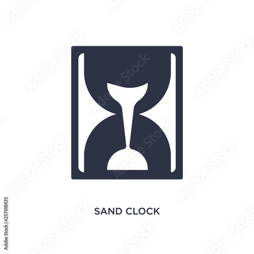 Valokuva  sand clock almost finish icon on white background