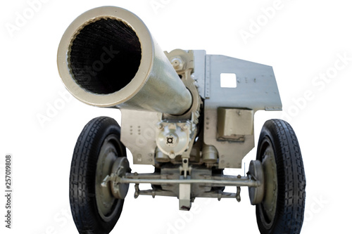 Foto op Canvas Militair military cannon on a white background