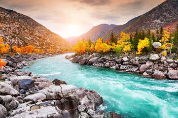 Katun river in autumn mountains at sunset. Altai, Siberia, Russia