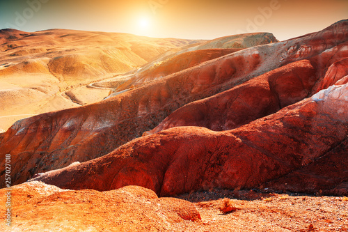 Photo sur Aluminium Bordeaux Red mountains in Kyzyl-Chin valley, Altai, Siberia, Russia